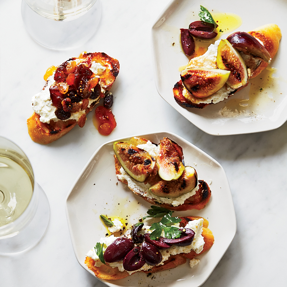 Ricotta Crostini with Three Toppings