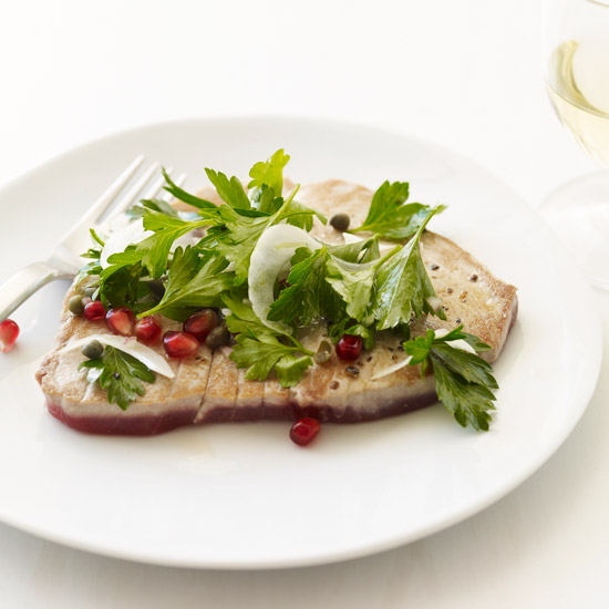Tuna Scallopine with Parsley and Pomegranate Seeds