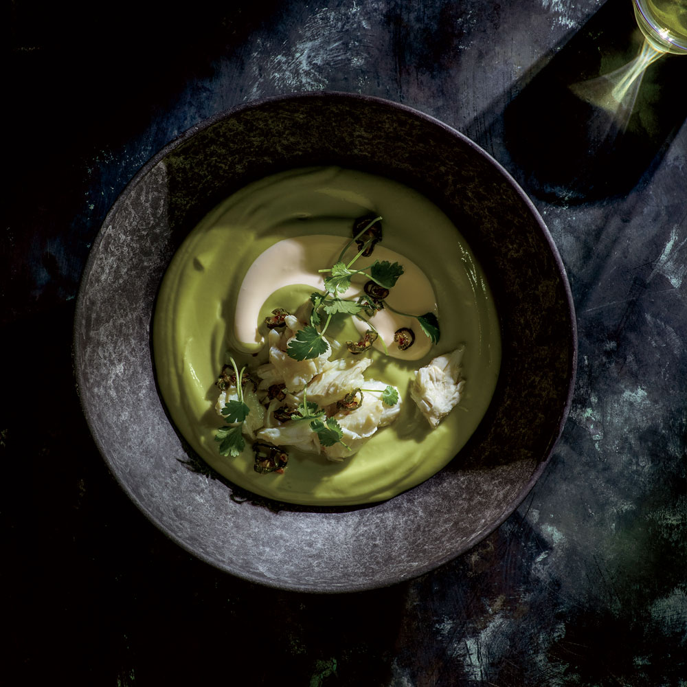 Chilled Avocado Soup with Crab