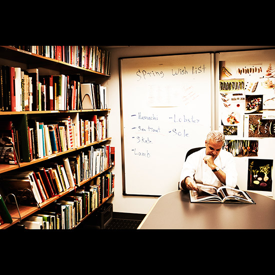 Eric Ripert Reading in His Culinary Library