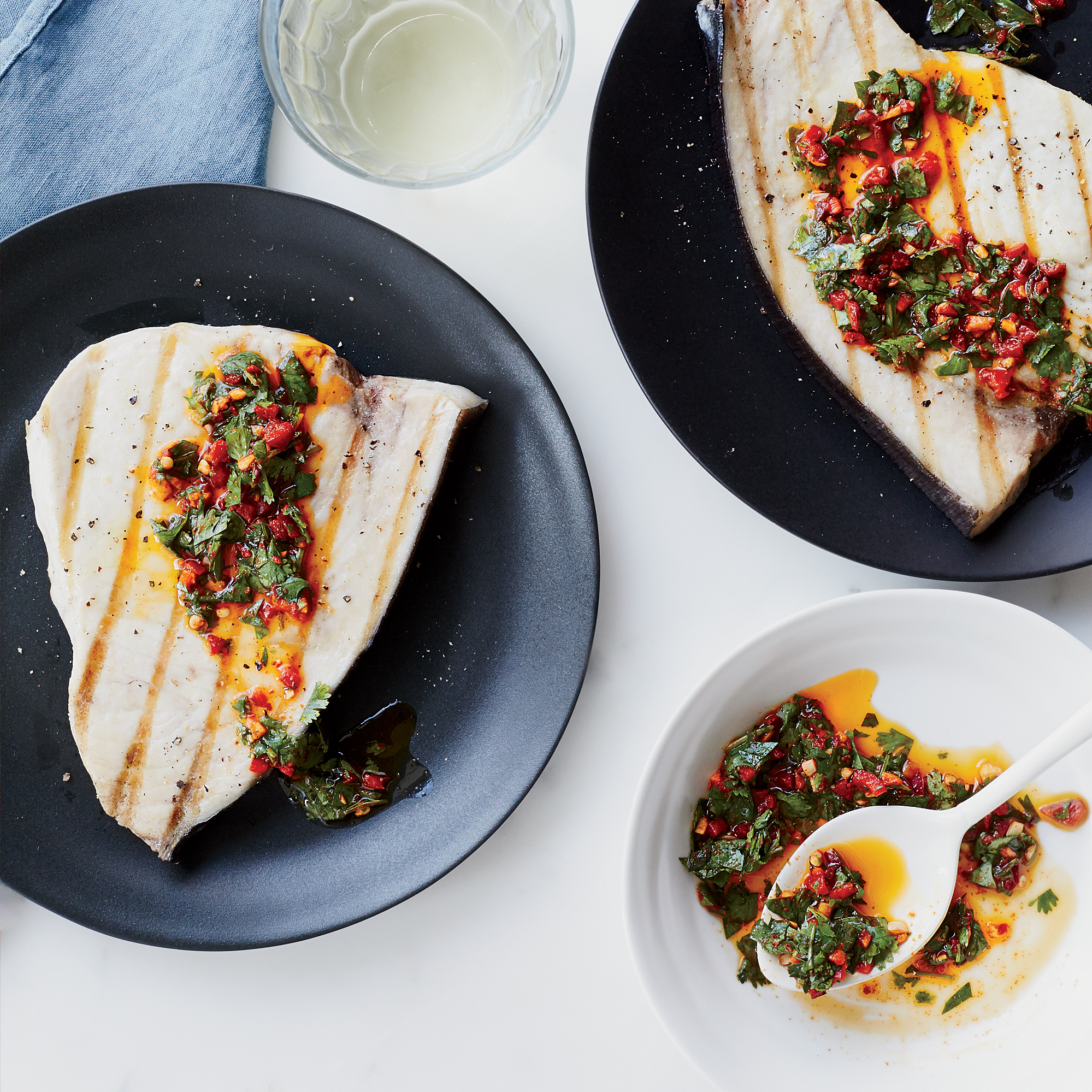 Grilled Swordfish with Cilantro-Chile Vinaigrette