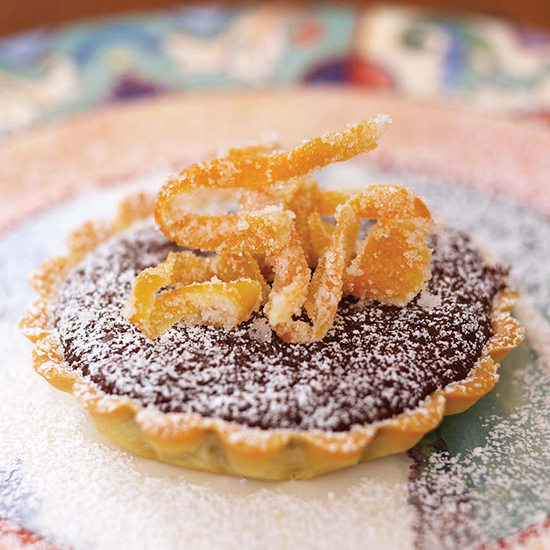 Chocolate Tartlets with Candied Grapefruit Peel