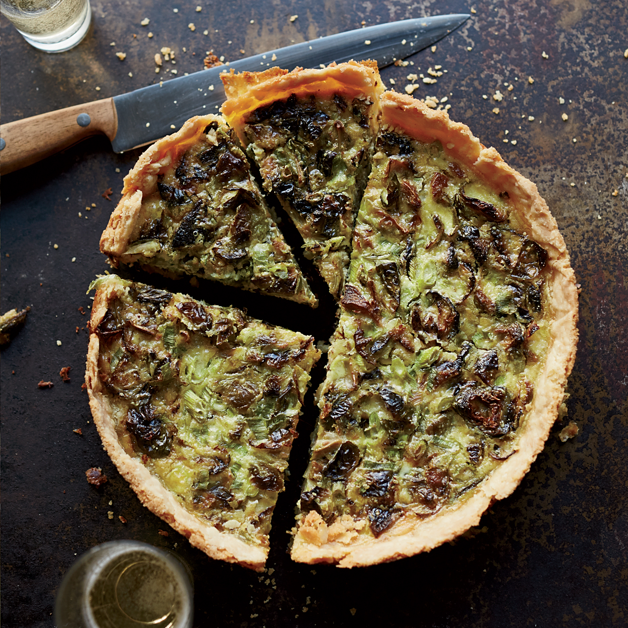 Roasted Brussels Sprout and Gruyere Quiche