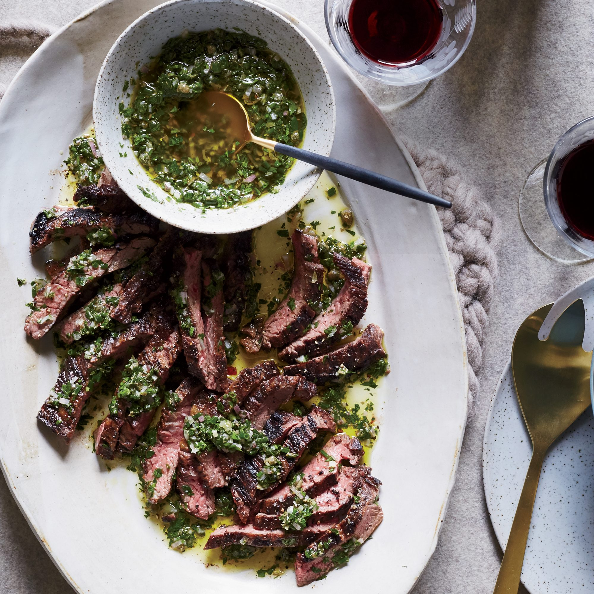 Skirt Steak with Anchovy-Caper Sauce
