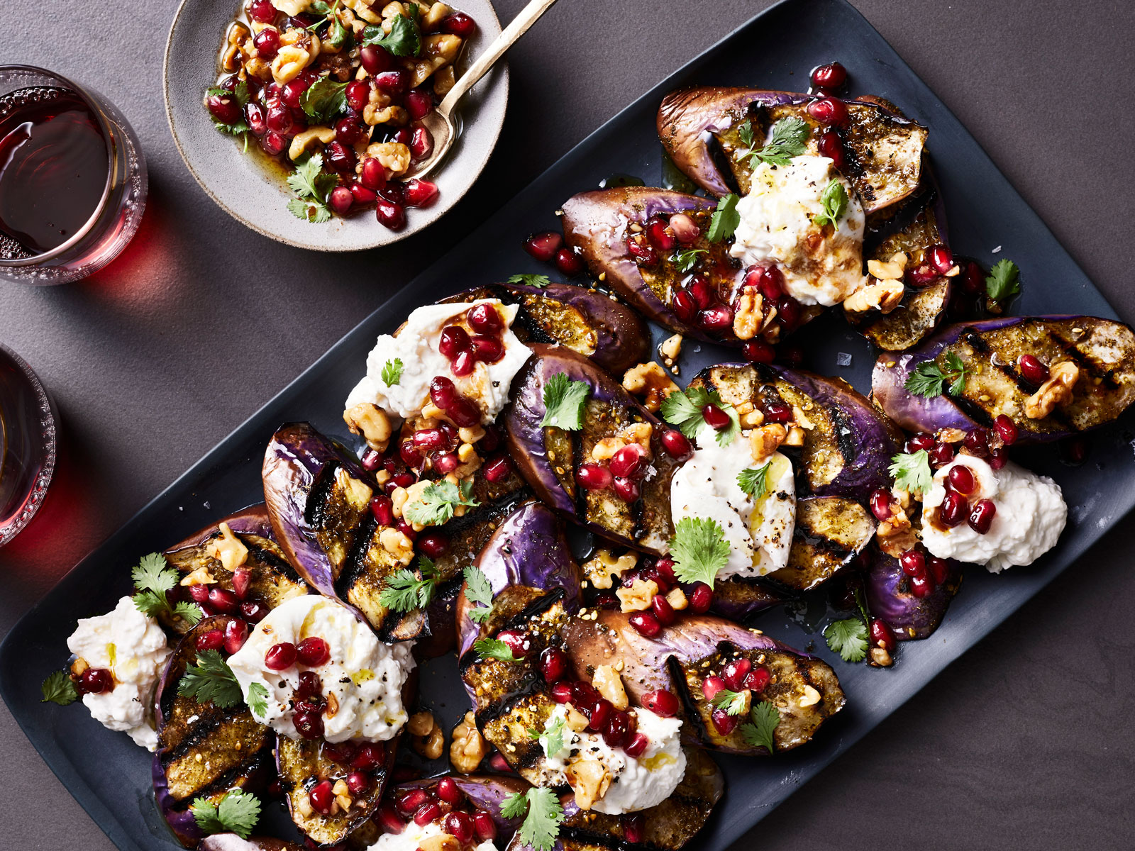 Charred Eggplant with Burrata and Pomegranate-Walnut Relish