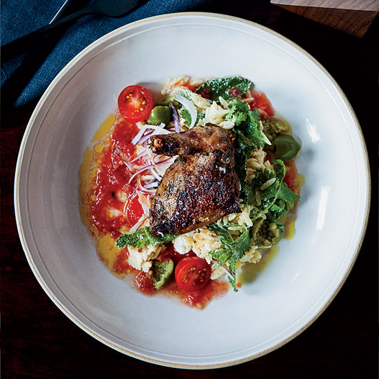 Grilled Squab Breasts with Creamy Orzo