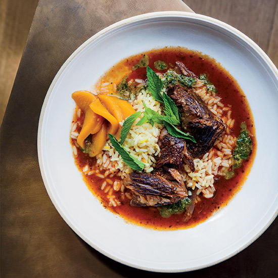 Braised Lamb with Saffron Rice, Pistou and Pickled Peaches