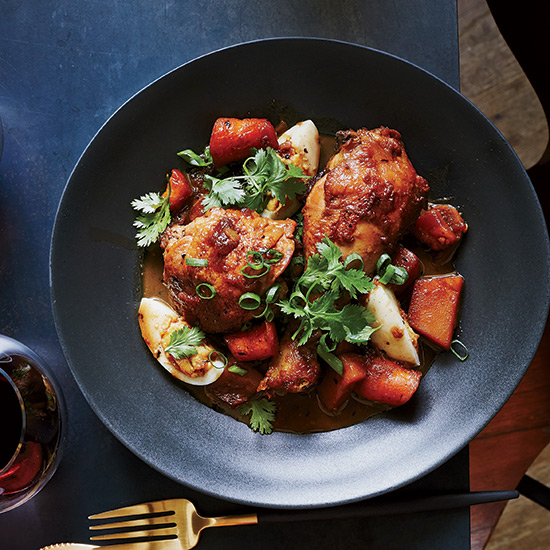 Red-Cooked Chicken with Potatoes and Eggs