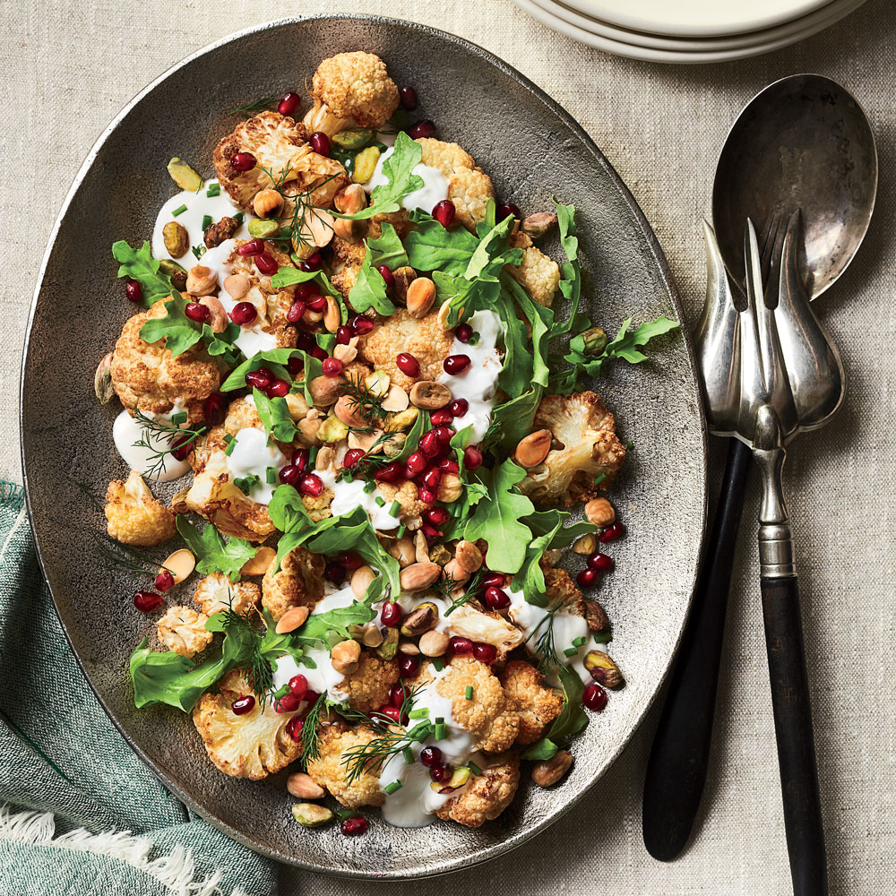 Cauliflower Salad with Yogurt Sauce and Pomegranate