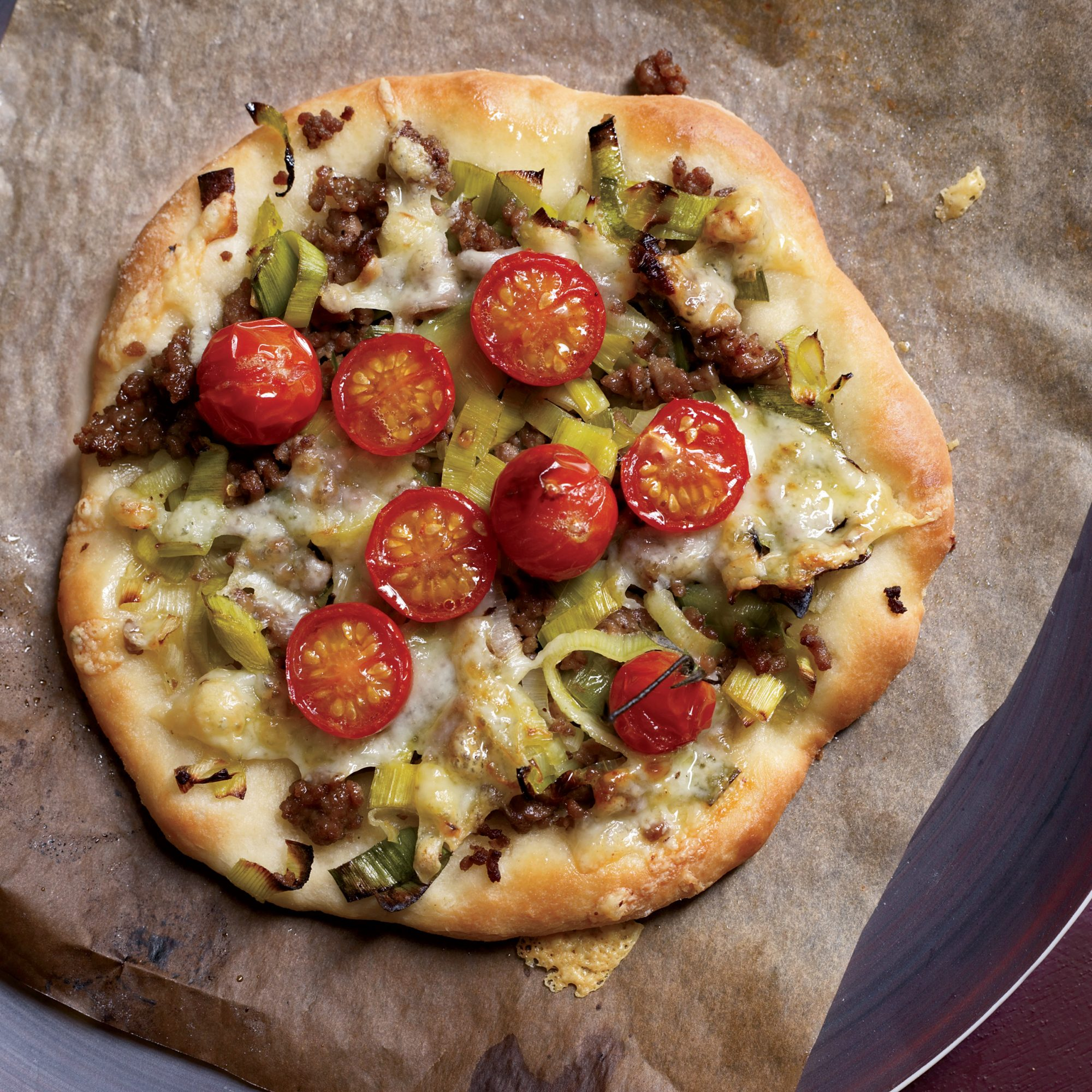 Leek-and-Pecorino Pizzas