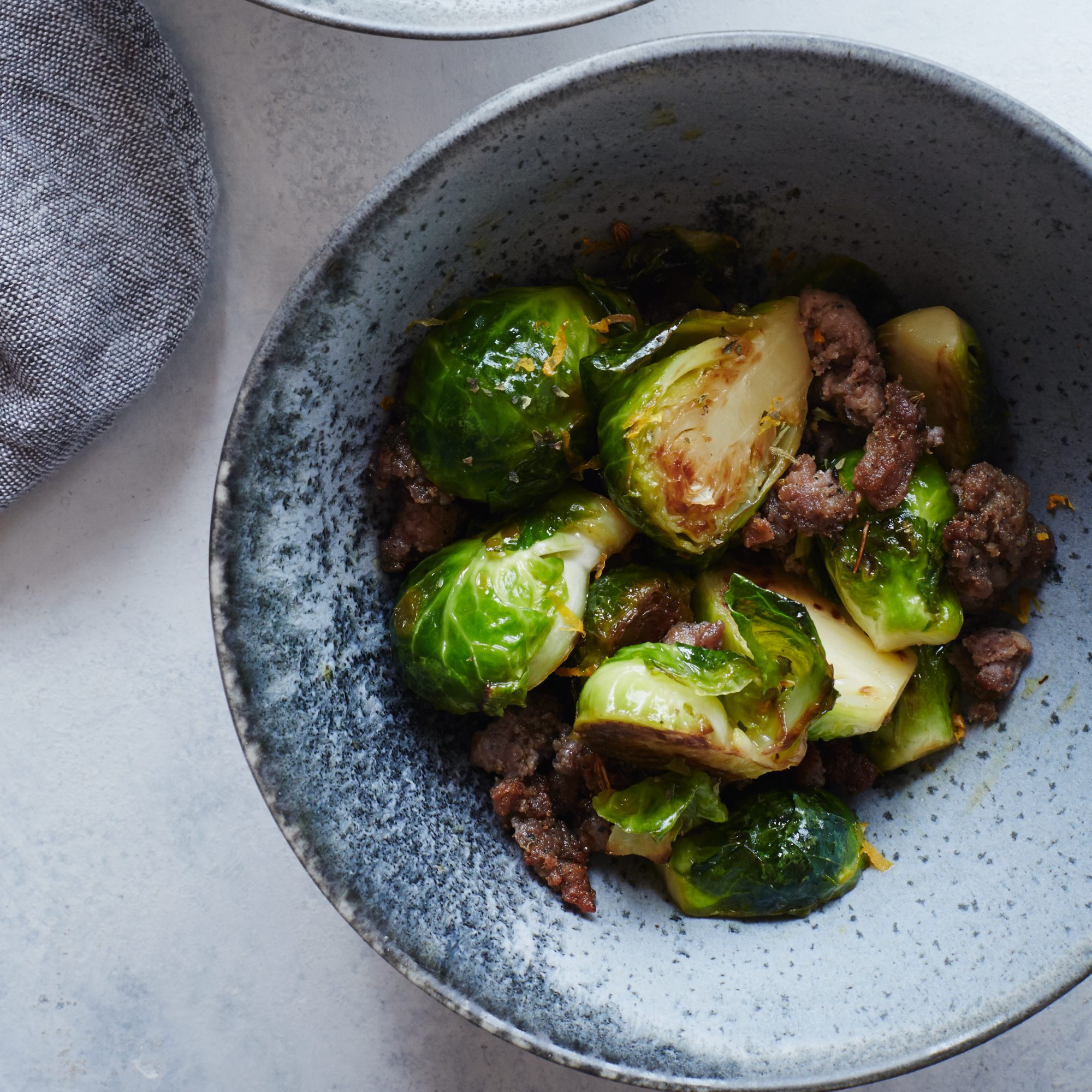 Brussels Sprouts with Sausage and Cumin
