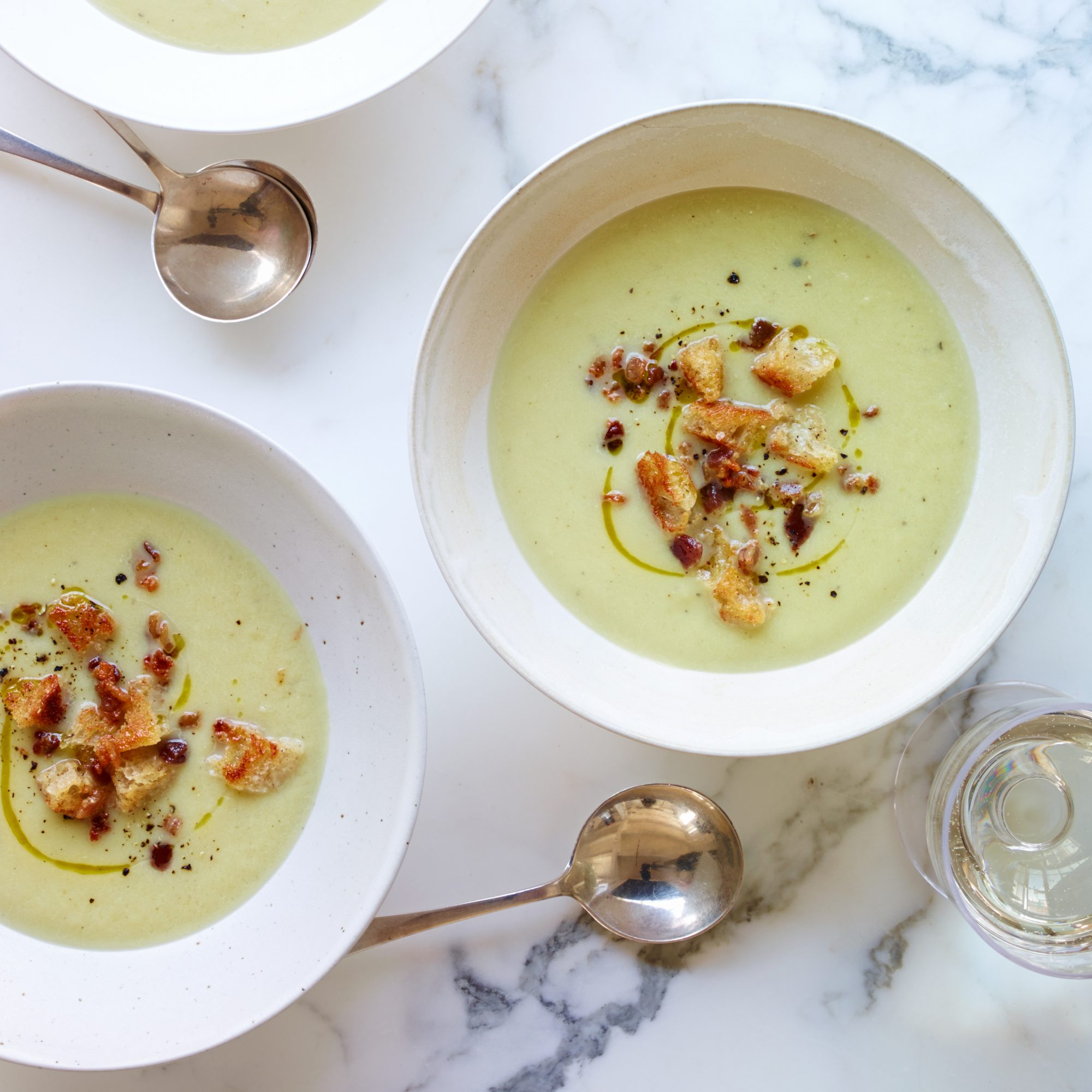 Celery Soup with Bacon Croutons