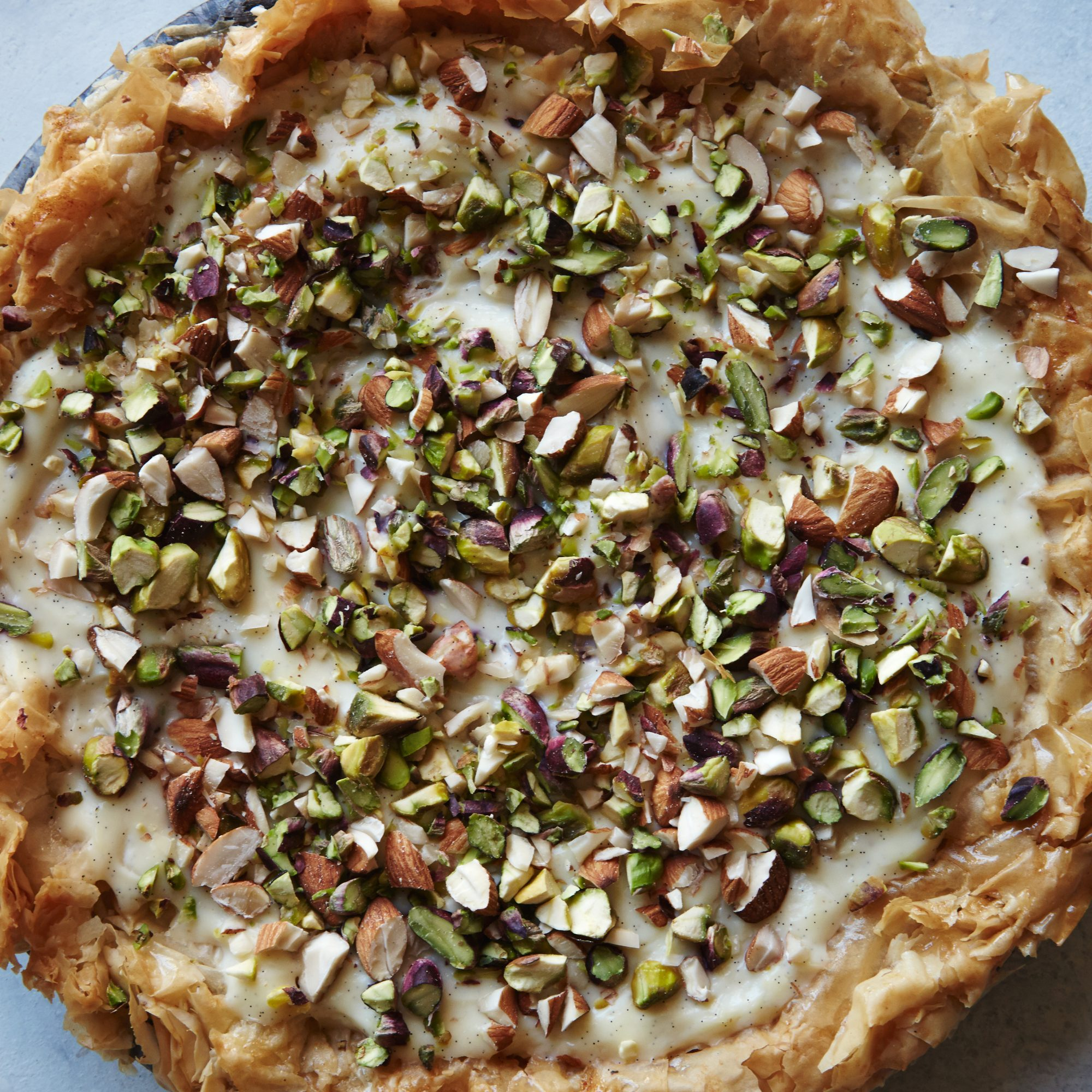 Custard Phyllo Pie With Almonds and Pistachios