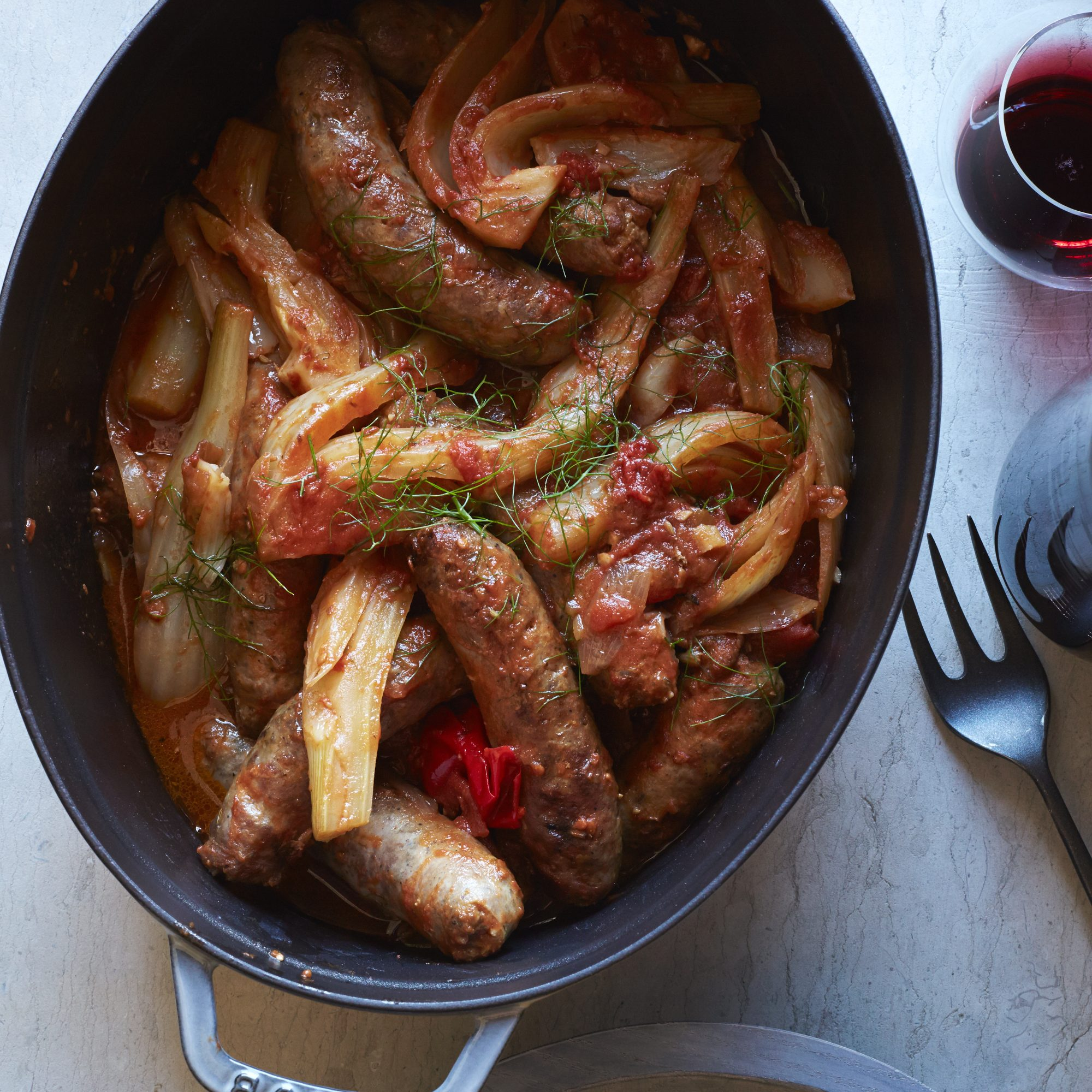 Stewed Sweet Sausages in Fennel-Tomato Sauce