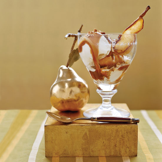 Roasted Pear Sundaes with Balsamic-Caramel Sauce