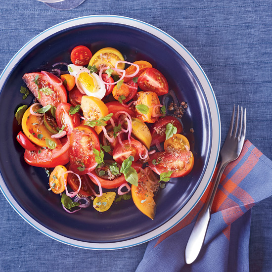 Heirloom Tomato Salad with Anchovy Vinaigrette