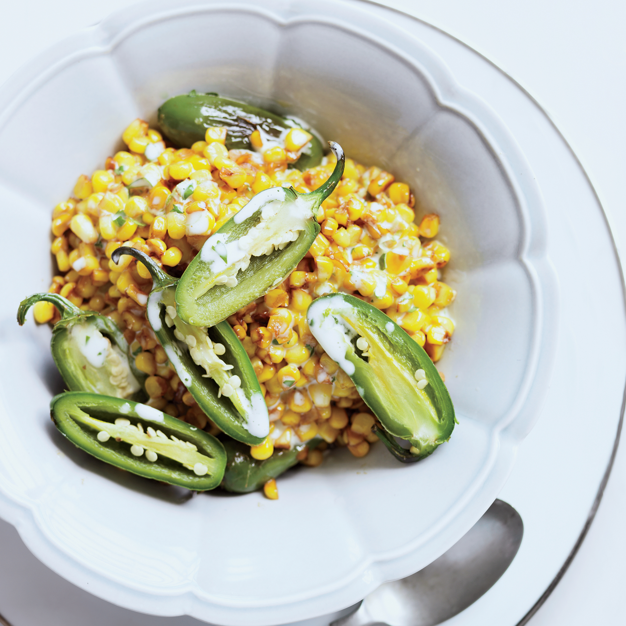 Skillet Corn and Peppers with Cilantro-Lime Mayo