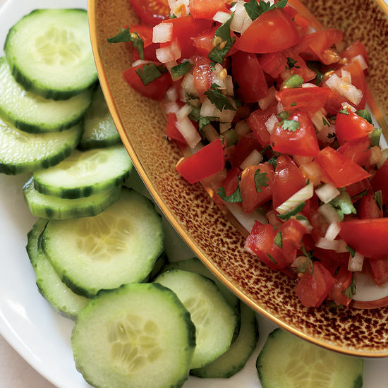 """Tomato Salsa with Cucumber """"Chips"""""""