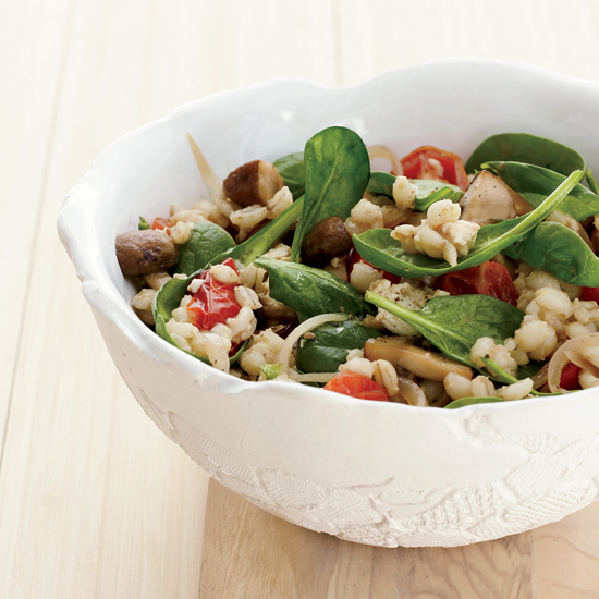 Barley-and-Spinach Salad with Tofu Dressing
