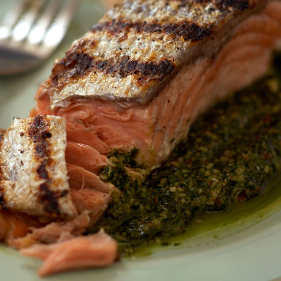 Grilled Salmon with Cilantro-Pecan Pesto