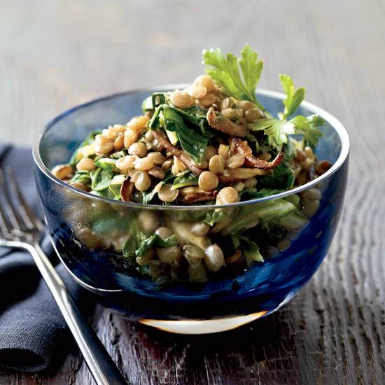 Spiced Lentils with Mushrooms and Greens. Photo © Tina Rupp