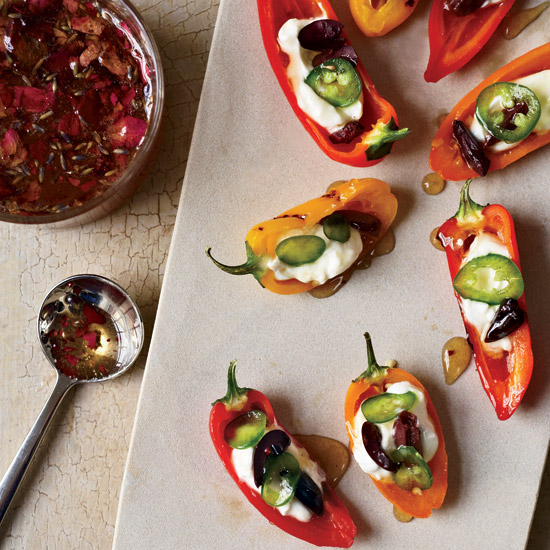 Stuffed Baby Peppers with Yogurt and Floral Honey. Photo © David Malosh