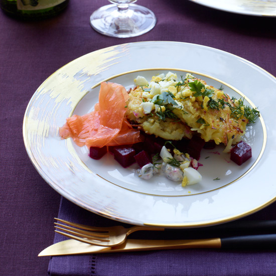Potato-Quinoa Cakes with Smoked Salmon and Beets