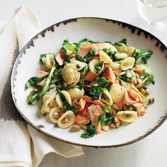 Orecchiette with Salmon, Arugula and Artichokes