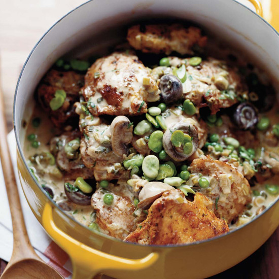 Beer-Braised Chicken Stew with Fava Beans and Peas