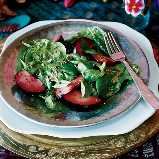Spinach, Basil and Plum Salad