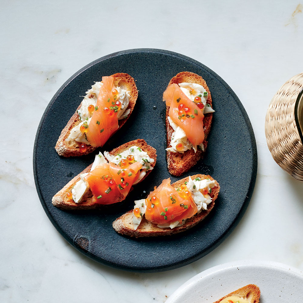 Crab and Smoked Salmon Pintxos with Vanilla Oil