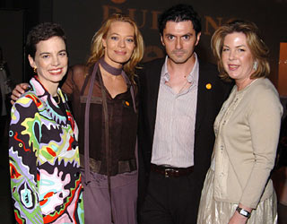 Dana Cowin and Julie McGowan with BNC 2005 Christophe Emé (Ortolan, Los Angeles) and Ortolan co-owner, actress Jeri Ryan.