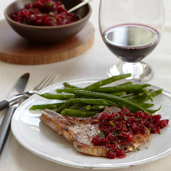 Pan-Fried Pork Chops with Cranberry Relish