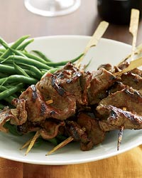 Grilled Beef-Tenderloin Skewers with Red-Miso Glaze