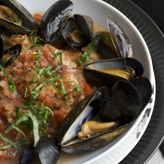 Tuscan Tomato Bread Soup with Steamed Mussels