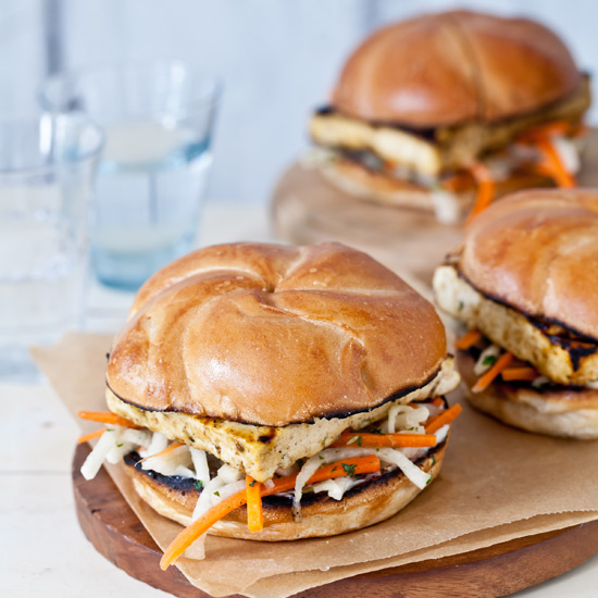 Glazed Tofu Sandwiches with Jicama Slaw