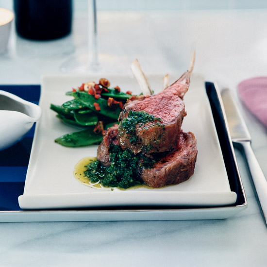 Oven-Roasted Lamb Chops with Mint Chimichurri