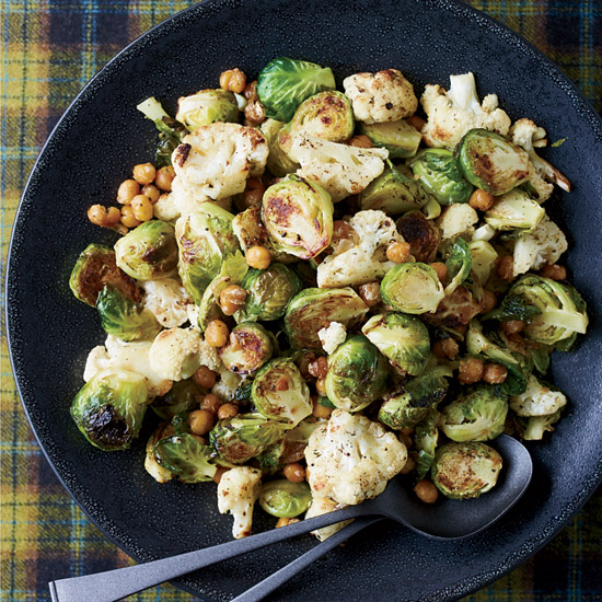 Jerk-Spiced Brussels Sprouts, Cauliflower and Chickpeas