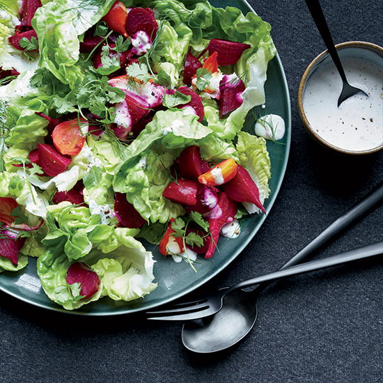 Bibb Lettuce Salad with Vinegar-Roasted Beets