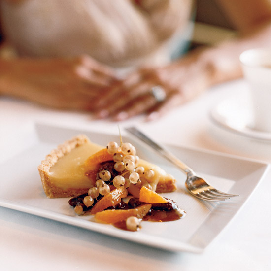 Lemon Curd Tart with Pecan-Citrus Sauce