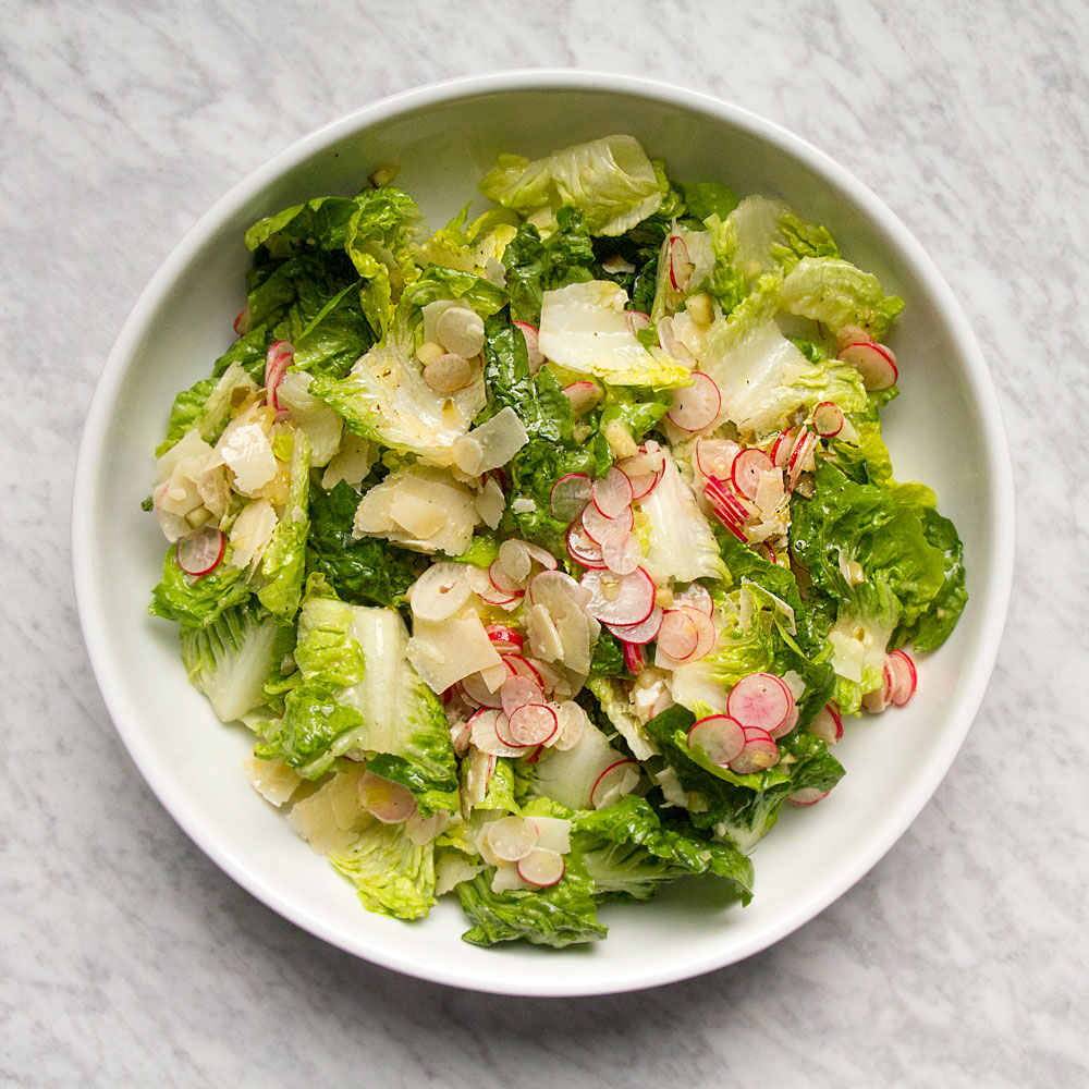 Lettuces with Parmigiano, Radish, and Dill Pickle Vinaigrette