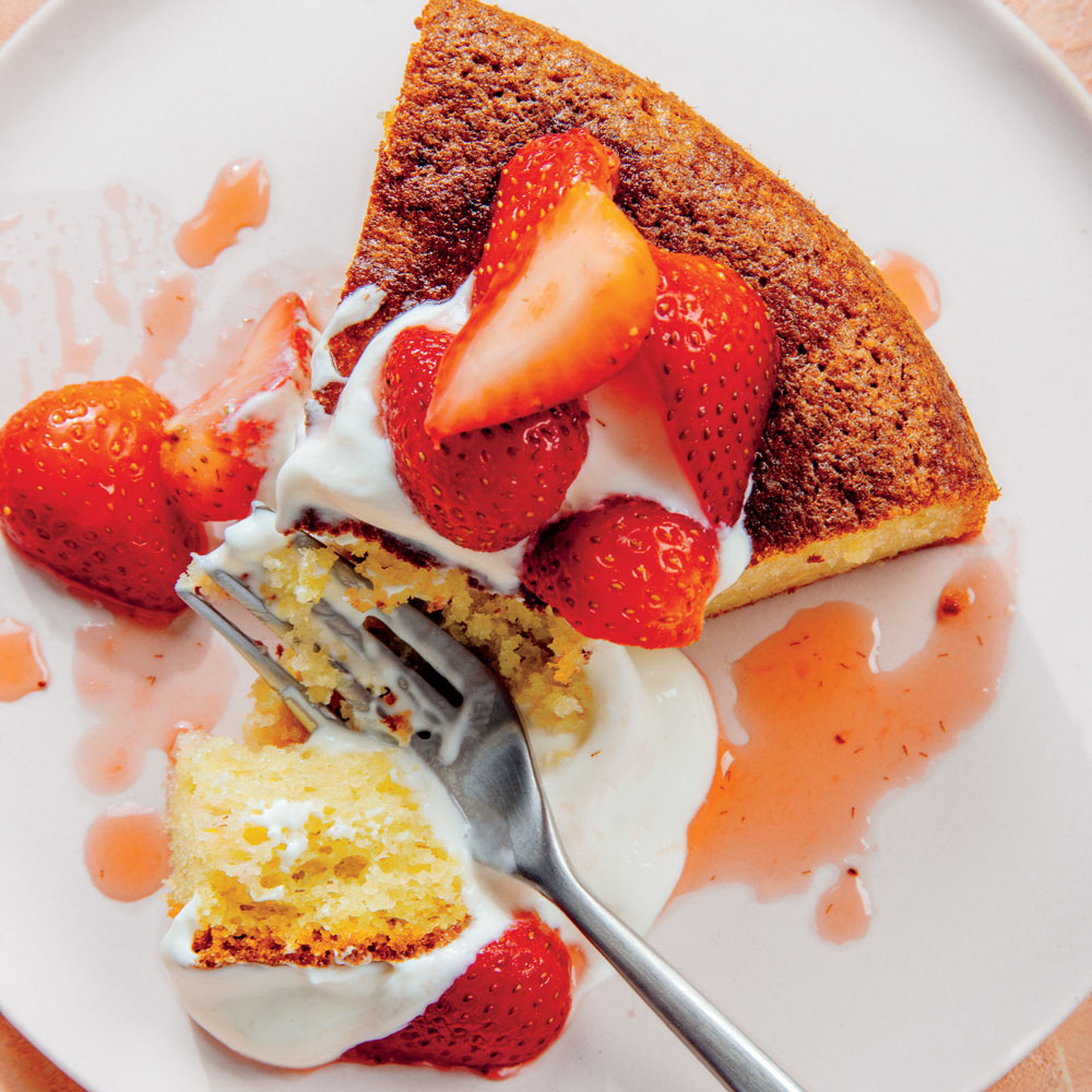 Olive Oil Cake with Honey-Yogurt Cream and Strawberries