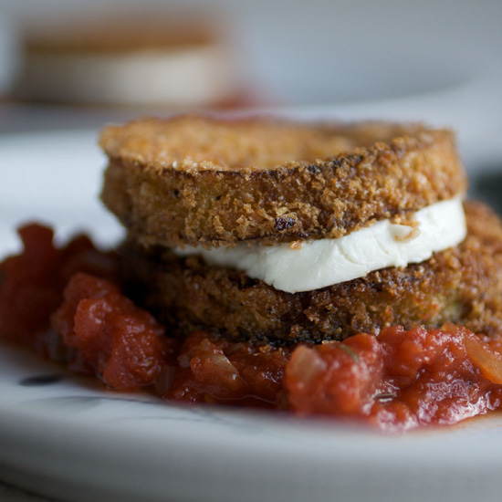 Eggplant Goat-Cheese Sandwiches with Tomato Tarragon Sauce
