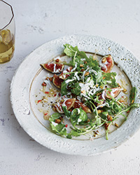 Fig and Arugula Salad with Grated Frozen Gorgonzola Piccante