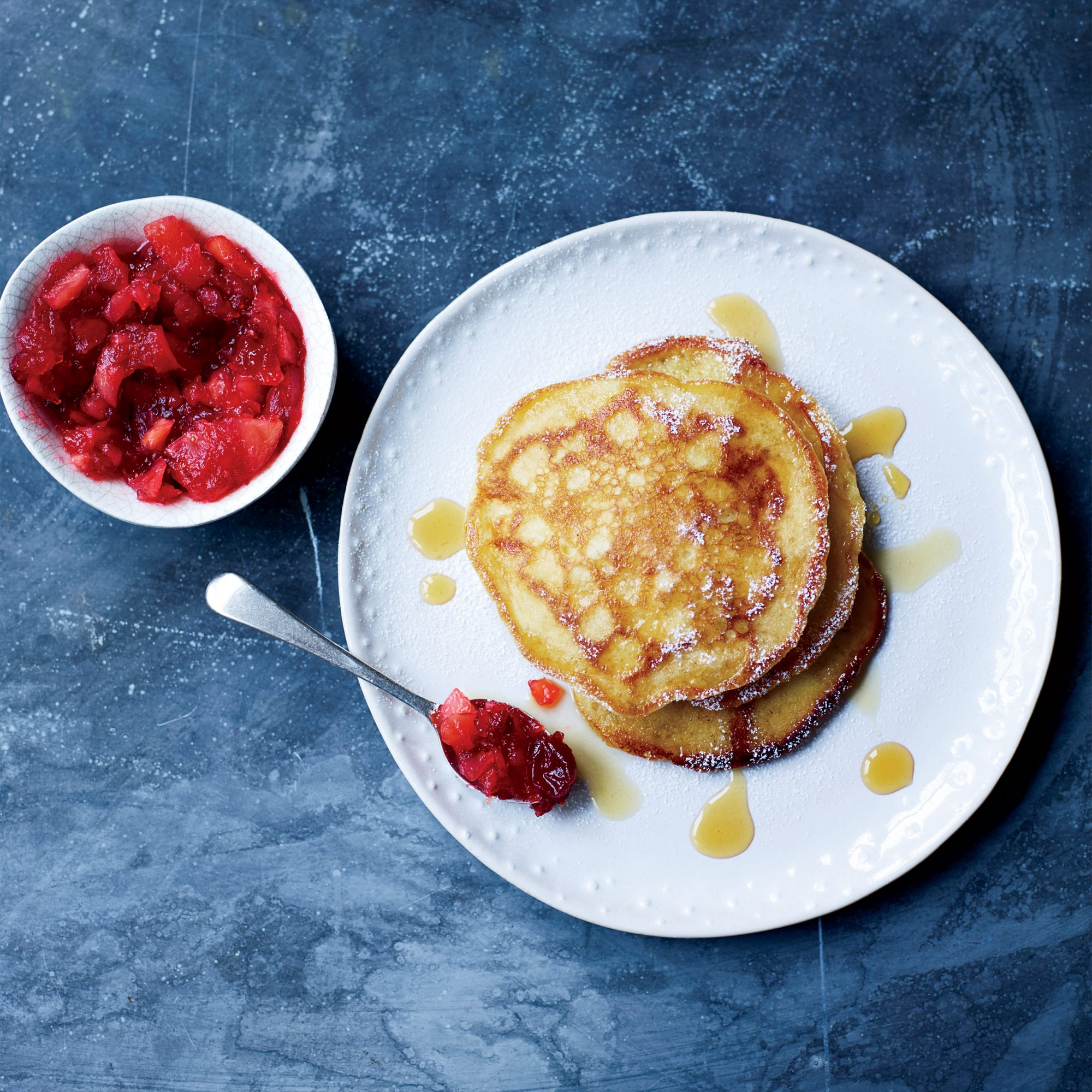 Buttermilk Pancakes with Quince-and-Cranberry Compote