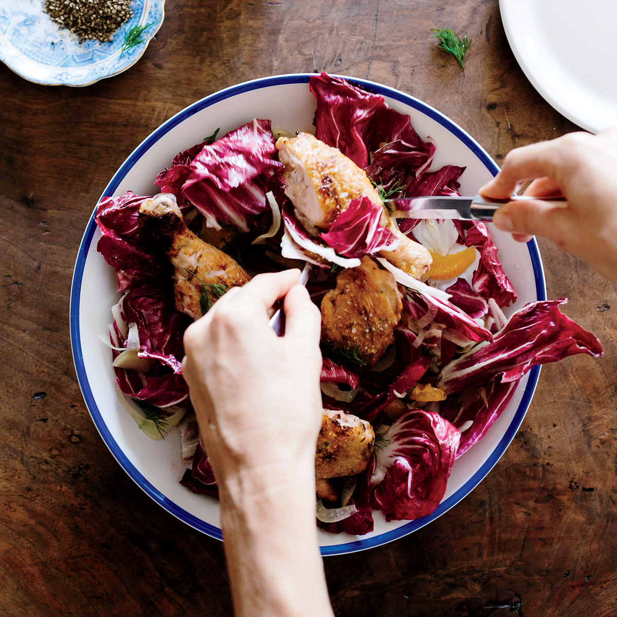 Roast Chicken with Pickled Fennel and Candied Walnuts