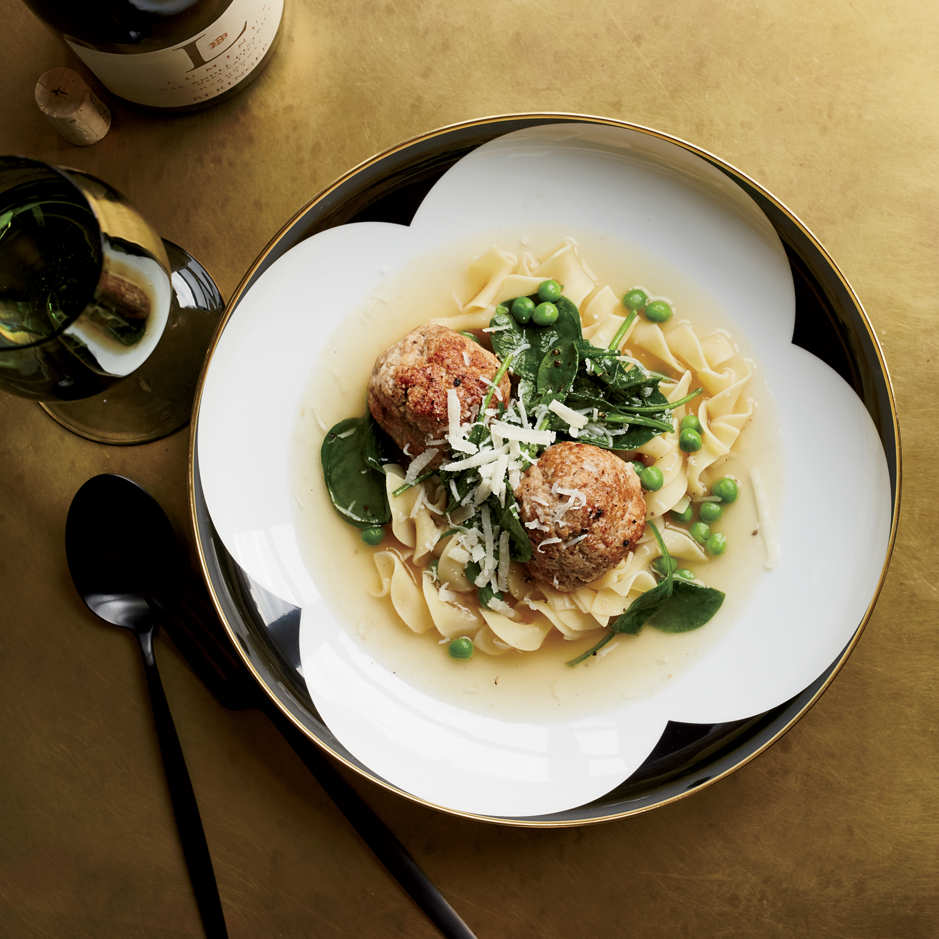 Pork-and-Ricotta Meatballs in Parmesan Broth
