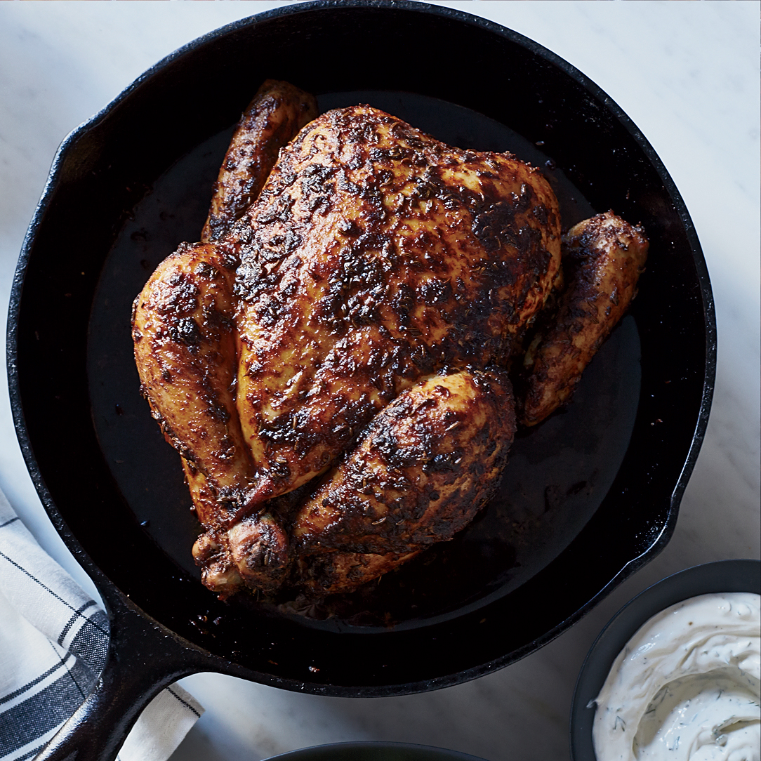 Roast Chicken Paprikash with Watercress and Dilled Sour Cream