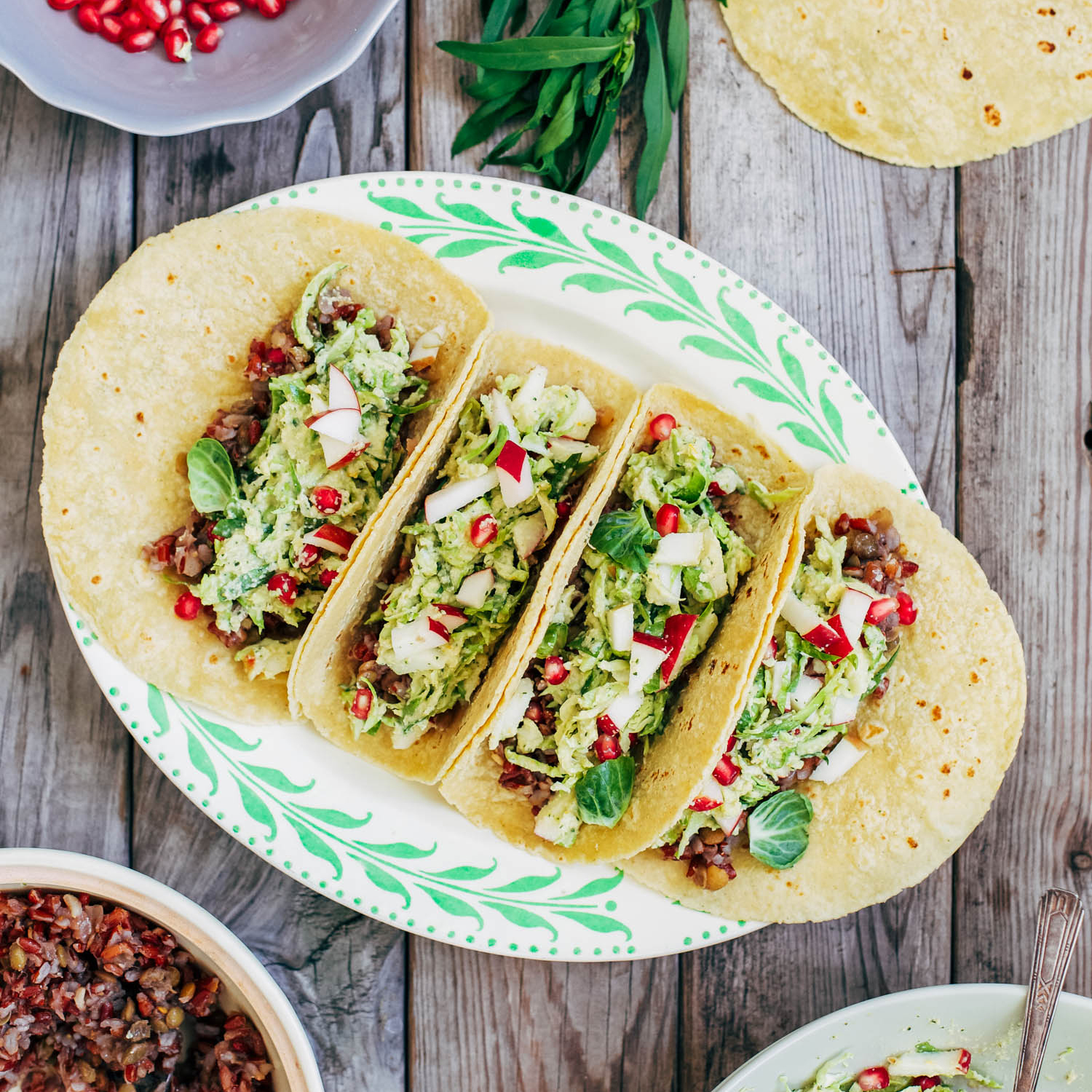 Tacos with Aromatic Red Rice, Brussels Sprout Slaw and Creamy Tarragon-Orange Dressing
