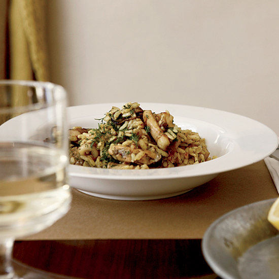 Mussel-and-Squid Pilaf with Sweet Spices and Dill